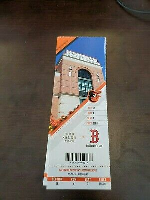 Baltimore Orioles Boston Red Sox MINT Season Ticket 5/7/19 2019 MLB Stub