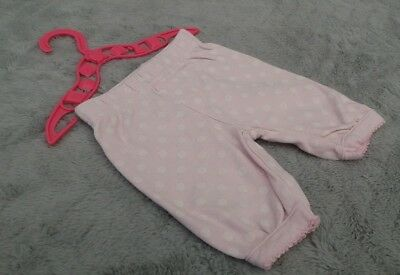 Baby Girls 100% Cotton Pink & White Spotted Joggers/Jogging Pants (Early Baby)