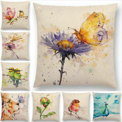 Watercolor Lion Flowers Butterfly Lane Bird Wren Cushion Cover Pillow Case