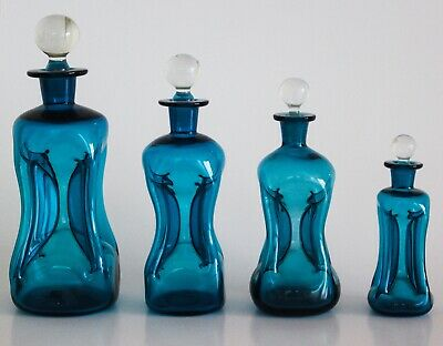 Vintage Holmegaard Blue Kluk Kluk Glass Decanter Set of 4, Danish Retro
