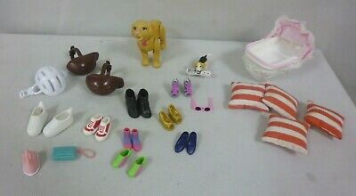 Assorted Barbie & Sindy Items - Baby Cradle, Dog, Cushions, Shoes, Iron Etc -Fe