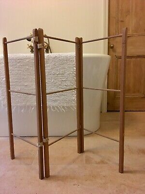 Antique Vintage Clothes Airer Dryer Washing 3 Fold Wooden Victorian Pine Trifold