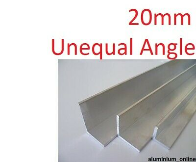 ALUMINIUM UNEQUAL ANGLE 20mm, 1 thickness, lengths 100mm to 1000mm