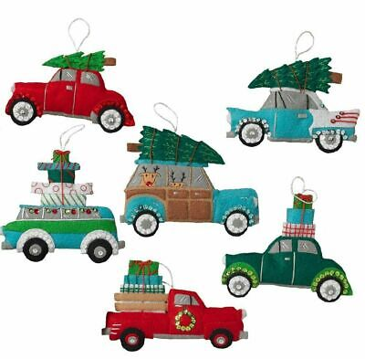 Bucilla/Plaid HOLIDAY SHOPPING SPREE Felt Christmas Ornaments Kit CARS TRUCKS(6)