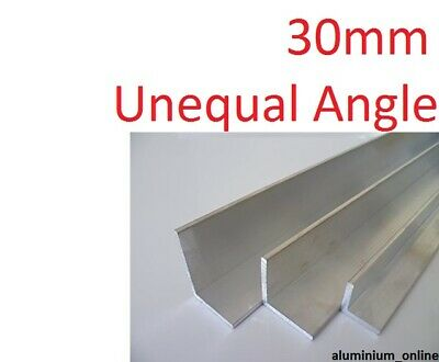 ALUMINIUM UNEQUAL ANGLE 30mm, 1 thickness, lengths 100mm to 1000mm