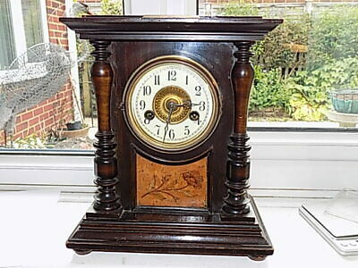 ANTIQUE GERMAN H.A.C. 14 day STRIKE MANTEL BRACKET CLOCK WITH BURR WOOD PANEL