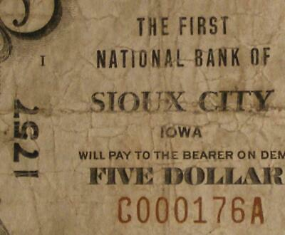 Sioux City, Iowa IA 1929 $5.00 Ch.1757 The First National Bank