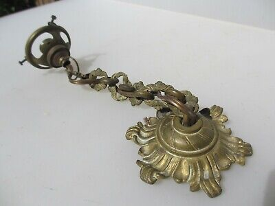 Antique Brass Ceiling Light Hook Chandelier Rose Bracket Rococo Victorian French