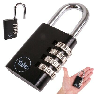 Yale 38mm BLACK COMBINATION PADLOCK 4-Digit/Code Re-Settable PIN Home Toolbox