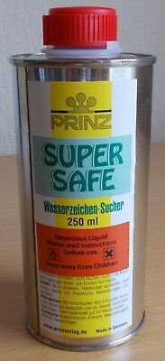 "Prinz ""Super Safe"" Watermark Fluid. 250ml bottle. Ref 1007."