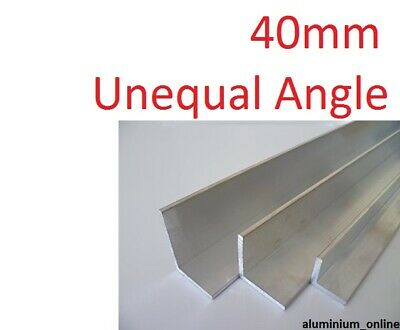 ALUMINIUM UNEQUAL ANGLE 40mm, 1 thickness, lengths 100mm to 1000mm