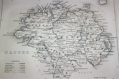 1867 Map of ULSTER Ireland ; Northern Irish Belfast Londonderry Donegal Armagh