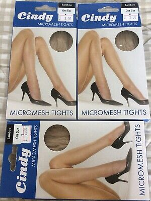 Cindy Micromesh Tights Bamboo 36 To 42 Hip One Size 3 X Pairs Job Lot Hosiery 3 75 Picclick Uk
