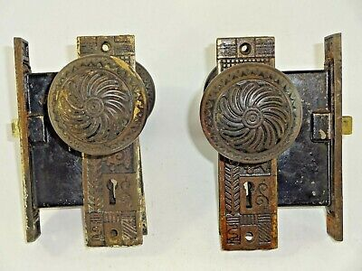 Vintage Antique Ornate Skeleton Key Mortise Door Locks with Door Knobs & Plates