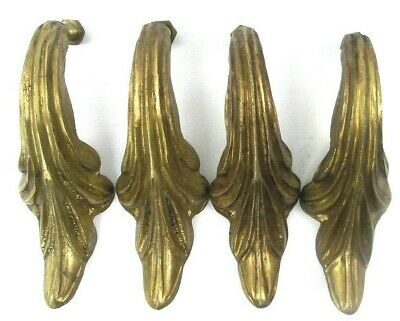 """Large Victorian Drawer Small Door Solid Brass Pulls 6"""" Height 4-Pk Vintage"""