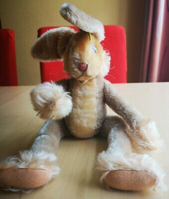 STEIFF Lulac Hase Rabbit, Vintage 1960 with Button mit Knopf
