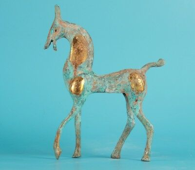 Bronze Hand Carving Golden Horse Animal China Display Statue Collection
