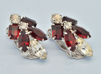 Vintage Earrings 1950s Clear & Red Marquise Crystal Silvertone Bridal Jewellery