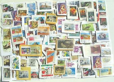 Australia Kiloware approx 450gm used decimal stamps,on paper.
