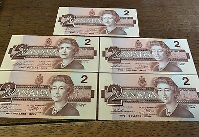 5x Bank Of Canada 1986 $2 Two Dollar Bill Note Consecutive Serial BUV Pre- D114
