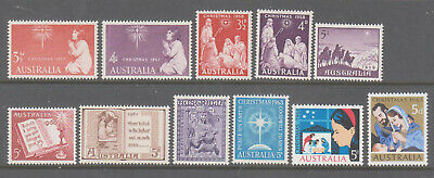 Australia 1957-65 Christmas  Mint unhinged lot 11  stamps.