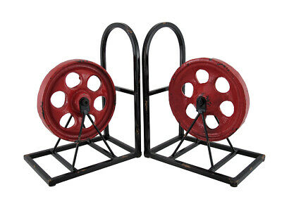 Scratch & Dent Set of 2 Red and Black Cast Iron Pulley Wheel Bookends