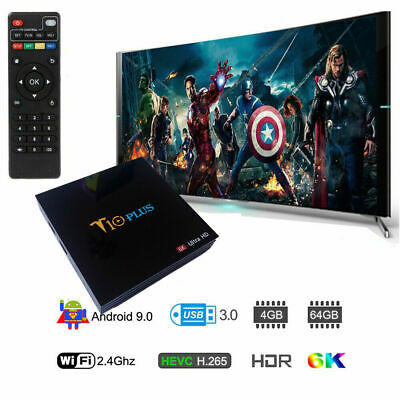 Decoder Smart TV BOX T10 PLUS Android 9 4GB RAM 64GB 4K TV GPU 5 CORE QUAD WIFI