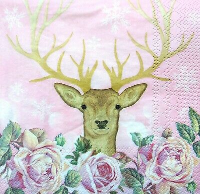 4 Lunch Paper Napkins for Decoupage Party Craft Vintage White Deer Paul