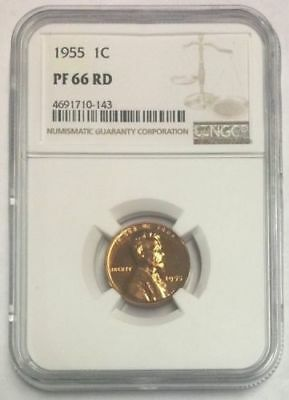 Ngc Pr66 Rd 1955 Pf Lincoln Wheat Proof Red Gem Bu 1C Cent Penny Coin Pf66Rd
