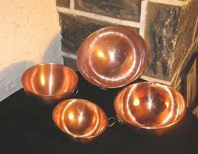 Bowls Copper bowl lot of 4 older lot mixed clean Brass hangers FREE SHIPPING!!