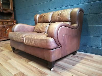 CHESTERFIELD Halo 2 Seat Hand Dyed Leather Sofa With Castors