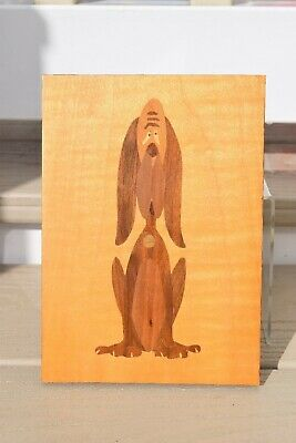 Vintage Marquetry Wood Picture of Comical Dog. Good Condition.
