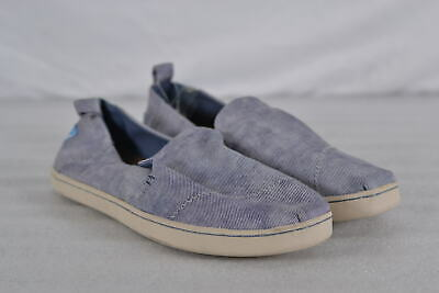 Women's Toms Alpargata Classic Slip On Shoes  Blue Washed Twill Canvas  6