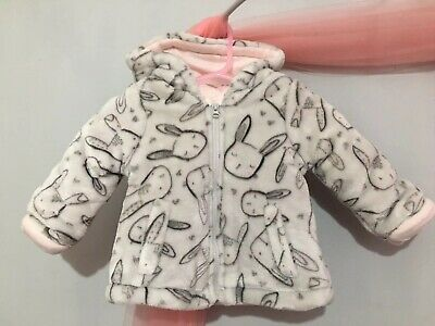 Gorgeous Baby Girls Super Soft Pale Grey Furry Fleece Bunny Design Coat 3-6m🎀