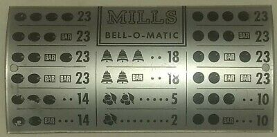 MILLS BELL-O-MATIC AWARDS CARD SLOT MACHINE Replacement Part