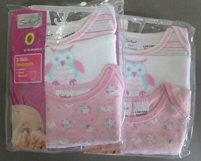 2 Pkts 3 Bodysuits @ Baby Girl's Size 0 12-18 Months Owl & Coloured Designs