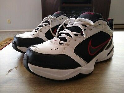 premium selection 92926 6c7ae Nike Air Monarch Iv White Black Red Size 9 Wide Great Condition!