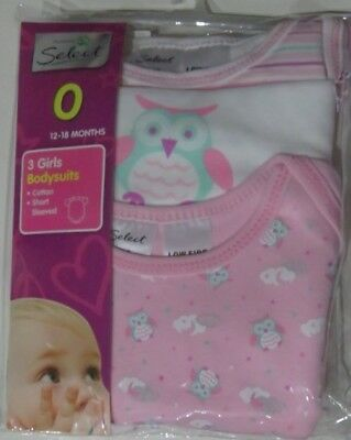 3 Bodysuits Baby Girl's Size 0 12-18 Months Owl & Coloured Designs