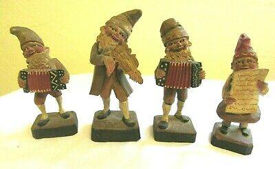 Vintage (4) Hand-Carved Painted Wooden Gnomes Standing Figurines- Folk Art- L-4""