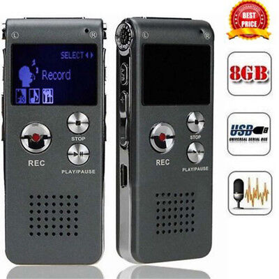 Rechargeable 8GB Digital Audio Voice Recorder Dictaphone Telephone MP3 Player PA