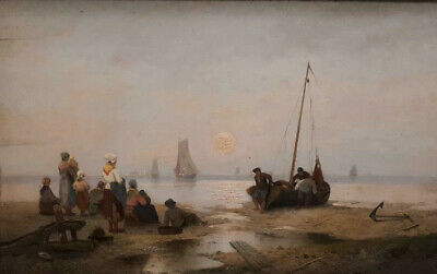 Carl Ludwig Francke 1797-1846 Holland Original Oil Painting Signed River Workers