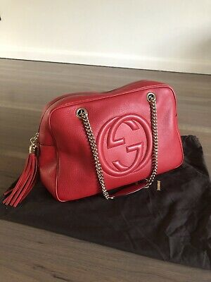 dee6be28fdff Brand New 100% Authentic Gucci Large Red Soho Womens Double Chain Handbag