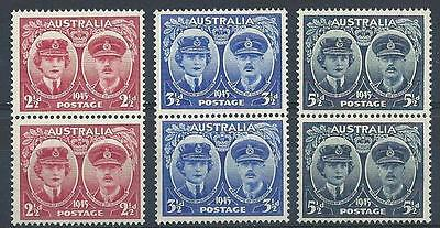 Australia 1945 Sc# 197-99 set  Duke and Duchess of Gloucester pairs MNH