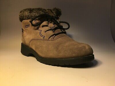c90bd750d8 Sporto Insulated Taupe Suede Ankle Boots Laceup Faux Fur Women 8M Waterproof  $50