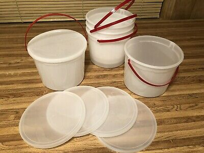 Berry BUCKETS & LIDS PLASTIC PAILS 128 OZ. Container  New with handle lot of 5