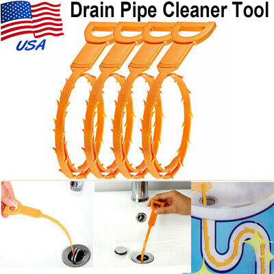 4Pcs Drain Pipe Cleaning Hair Grime Remover Rod Sink Household Cleaner Tool USA