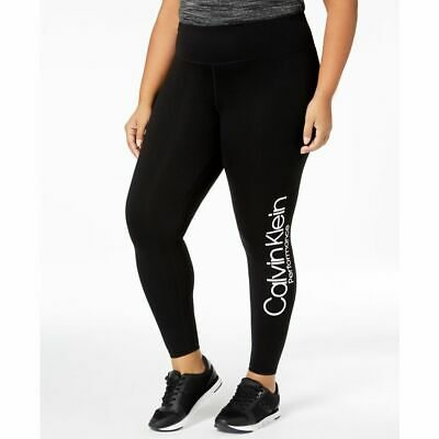 6694b67032 Calvin Klein Womens Performance Plus Size High-Waist Logo Leggings White  Rubber