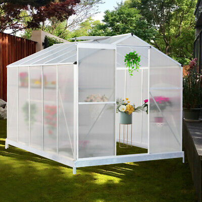 Walk-in Lawn Clear Polycarbonate Greenhouse with Aluminum Frame Base Slide Door