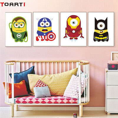 Avenger Movies Quotes Super Hero Cartoon Canvas Painting Kids Room Art Decor A4