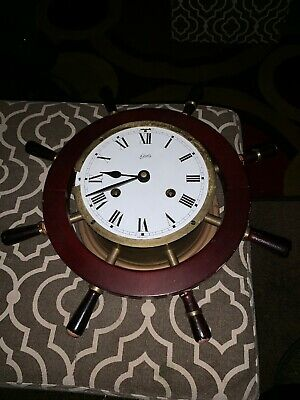 Schatz Mariner 8 Day Ships Wheel Wall Clock Germany NICE As Is Untested No Glass